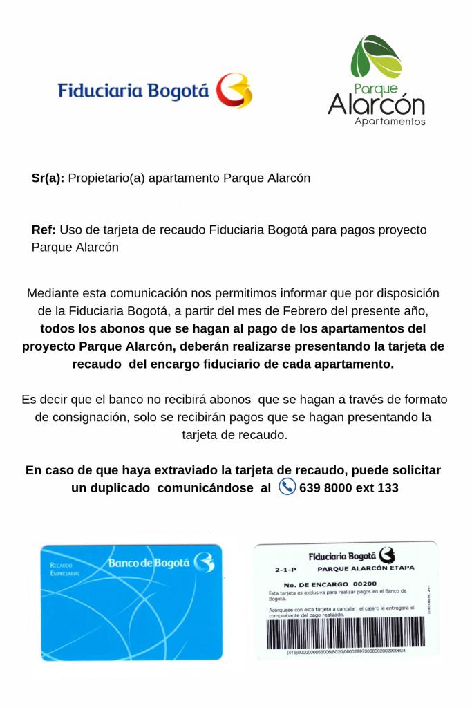 tarjeta Fiduciaria Bogotá Parque Alarcón